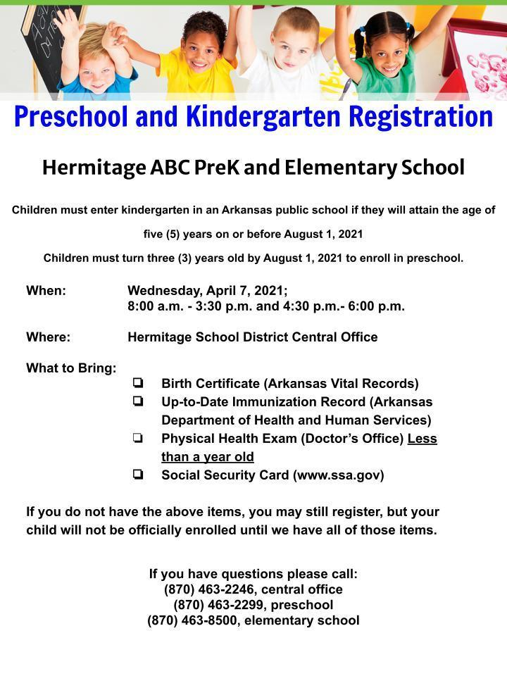 Pre-K and Kindergarten Registration Flyer