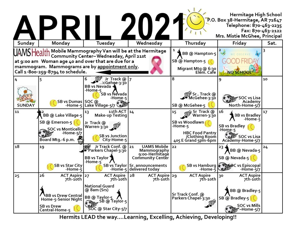 April 2021 High School Calendar