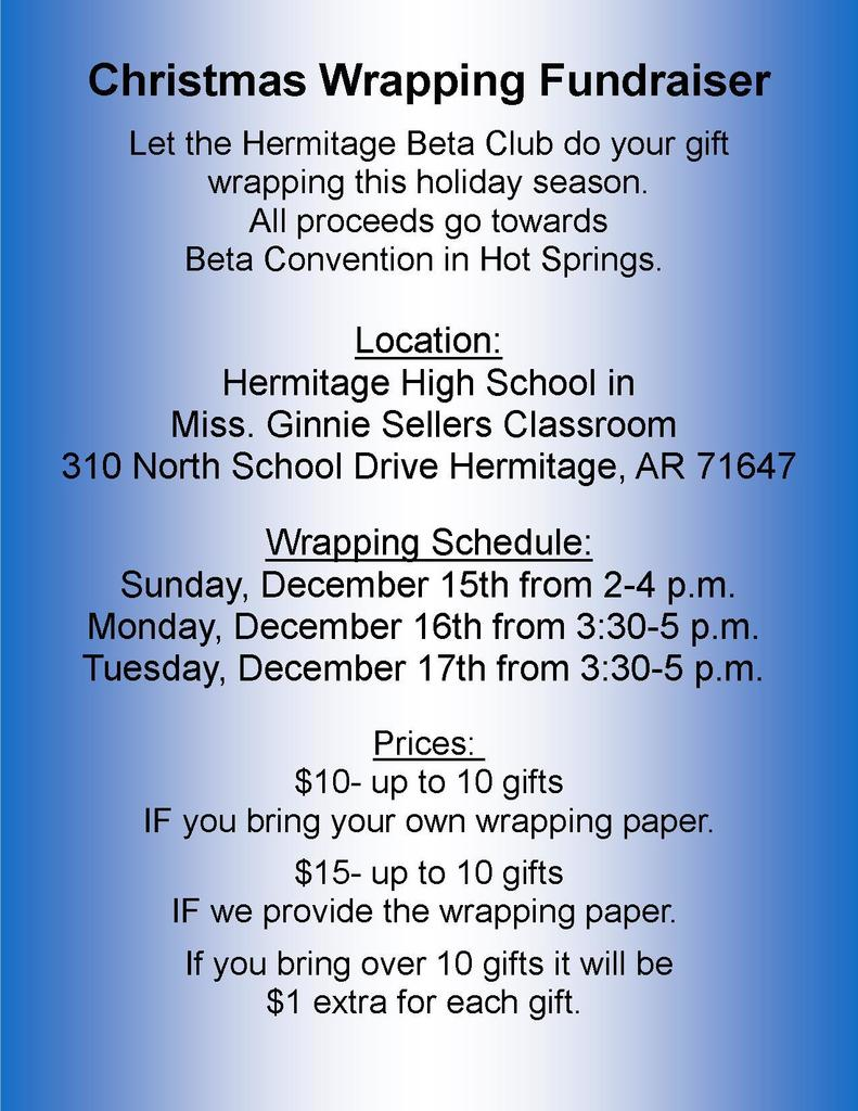 HHS Beta Wrapping Fundraiser