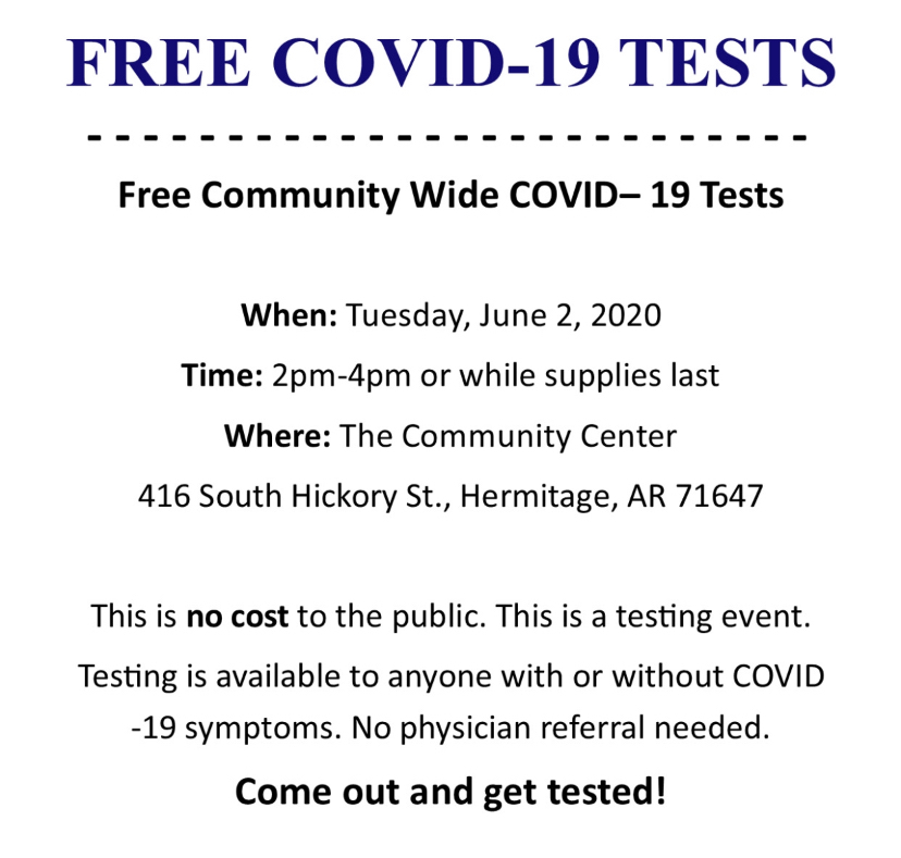 Covid-19 testing announcement