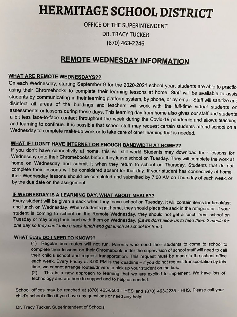 Remote Wednesday Information